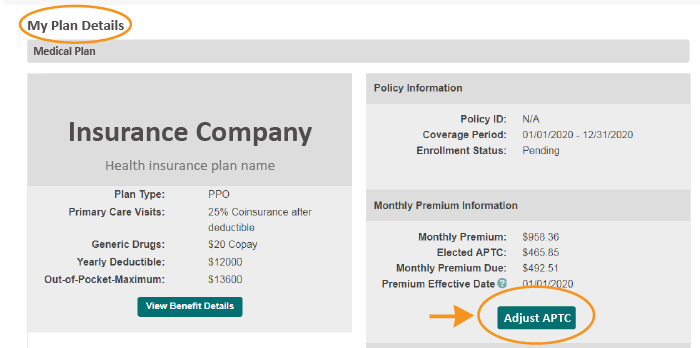 adjust APTC button on the Plan Details page
