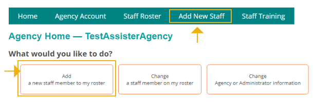menu for adding new staff on agency home screen