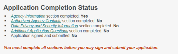 application status one completed section