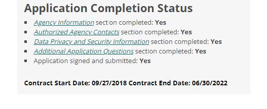 application status showing contract executed