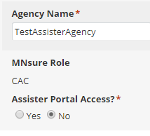 assister portal access radio buttons