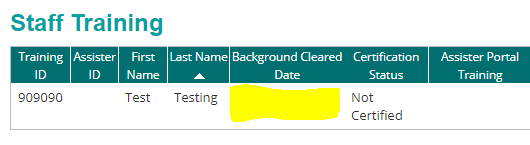 background cleared status column on staff roster page