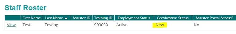 staff record showing new certification status