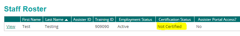 staff record showing Not Certified certification status