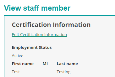 Edit certification link to edit staff member information