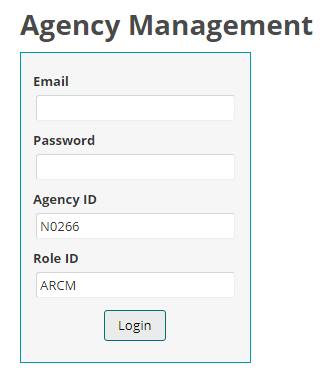 Log in screen for agency and role
