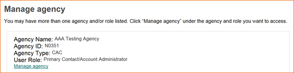your agency accounts and roles with the Manage Agency link