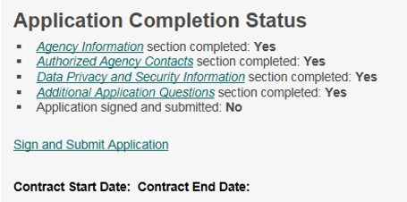 sign and submit link is under the last application status radio button