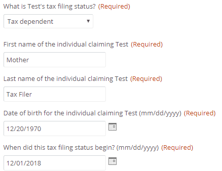 example of tax filing dependent fields