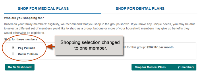 member selection: one box checked the other unchecked