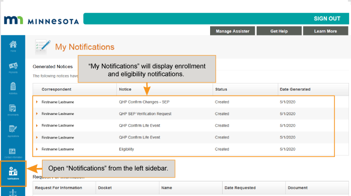 My Notifications showing eligibility and enrollment notices