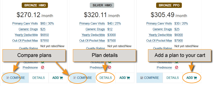 plan comparison, plan details and add a plan links