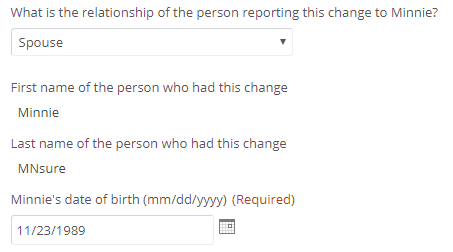 spouse reporting shown in relationship field