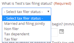 tax filer status menu - as listed in surrounding text